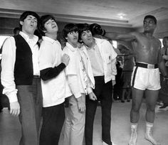 The Beatles goofing around with Muhammad
