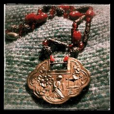 necklace - red vintage #venetian glass #beads + silver metal beads + old traditional #chinese lock