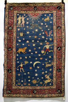 Persian 'zodiac' rug, probably Kerman area, south west Persia, early 20th century, 6ft. 7in. X 4ft. 4in. 2.01m. X 1.32m.