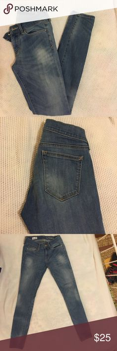 "Gap Skinny blue jeans Light wash blue skinny Gap jeans. Very flattering and have great stretch. The wear is the way the jeans came distressed. In good condition. I'm 5' 3"" and typically wear a 0 and they fit great. GAP Jeans Skinny"