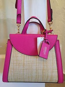 Kate Spade Saturday The Mini A Satchel Rose Pink Straw & Leather