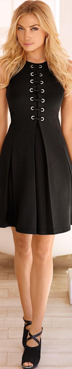Boston Proper Grommet Scuba Fit-And-Flare Dress
