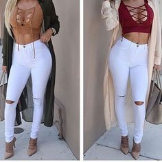 Calça Jeans Branca Rasgada Cintura Alta