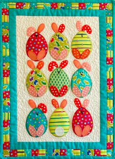 Easter egg bunnies quilt at Patchwork Bliss (Australia) Would be a cute mug rug. Quilting Projects, Quilting Designs, Sewing Projects, Quilting Ideas, Quilt Baby, Small Quilts, Mini Quilts, Children's Quilts, Easter Projects