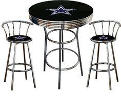 Philadelphia Eagles Logo Themed 3 Piece Chrome Metal Finish Bar Table Set  With Glass Table Top 2 Swivel Seat Eagles Logo Themed Bar Stools