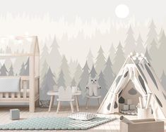 Pine Tree Forest Wallpaper for Baby Boy Room, Woodland Wallpaper Kids Removable, Hunting Nursery Dec