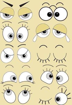 Cartoon faces with different emotions as happiness, joyful, comics, surprise, sad and fun Illustration Clay Pot Crafts, Rock Crafts, Arts And Crafts, Rock Painting Designs, Paint Designs, Tole Painting, Painting & Drawing, Drawing Eyes, Art Pierre