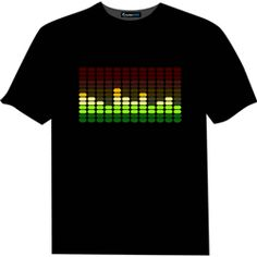 Multi Color Sound Equalizer Rave T-Shirt With Sound Sensor. The wicked sound-sensitive multi colored bars jump and flash in time to the music wherever you are combining retro-cool with up to the minute digital technology. Price $24.99