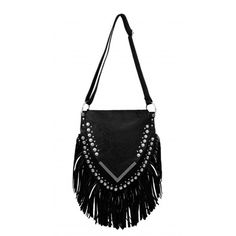 DOLLA A DREAM BLACK FRINGE SHOULDER BAG LAMODA (84 RON) ❤ liked on Polyvore featuring bags, handbags, shoulder bags, fringe purse, shoulder bag handbag, fringe handbags, shoulder handbags and fringe shoulder bag