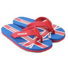 Splash Flip Sandals by Reebok with Union Jack graphic print. Made of synthetic leather and rubber sole. Detailed with Y straps. These are perfect for walking on the beach or park. Pair these with white shorts and bright colored top. http://www.zocko.com/z/JFLtK