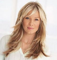Best Hairstyles for Women over 50... Layered Hair With Bangs, Hair Styles For Medium Hair With Layers, Medium Hair Styles For Women With Layers, Long Hair With Bangs And Layers, Hair Styles For 50, Medium Length Hair Straight, Fine Hair Bangs, Med Long Hair Cuts, Short Hair Styles For Round Faces