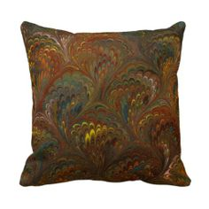 Marbleized Endpaper Pattern Throw Pillow