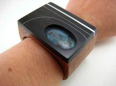 Carved Wood Wrist Cuff / Bracelet statement by RamshackleStudio