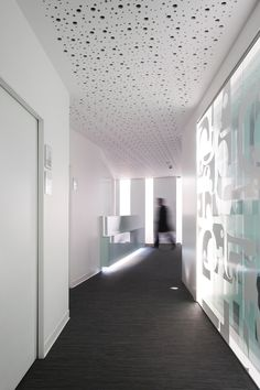 A glass panel like this with Cheryl Lee md skin care on it would be cool separating the store from the office