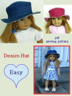 Denim hat pattern for 18 inch doll