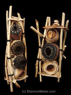 "361 - Natural Mixed Media Mandala Cottage Grove mixed media artist, Shannon Weber, created these amazing art pieces from pieces of Mother Nature entitled ""Life Guard Towers."" She used beaver sticks, knotless knitting, wax linen on ..."
