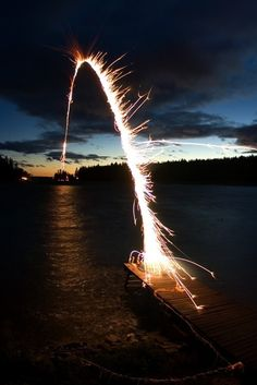 Fireworks - How in the world did this happen??!! WOW, WAYYYYYYYYYY COOL!! What a phenomena! (entitled Bridge to Next Island)