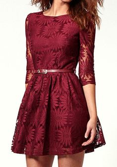 Floral Embroidery Dress - Port