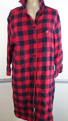 Woolrich Nightgown Large Buffalo Plaid 100% Cotton Knee-length fall winter warm #Woolrich #Sleepshirt