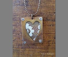 Vintage Lace Pressed Between Copper : Heart by EclecticRedesigns Handmade Jewellery, Handmade Gifts, Pressed Metal, Metal Jewelry, Unique Jewelry, Metal Embossing, Vintage Lace, Heart Shapes, Dog Tag Necklace
