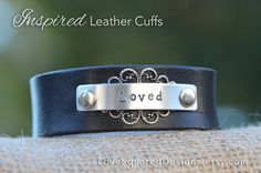Loved leather cuff, Valentine's day gift, Leather cuff bracelet, Metal stamped bracelet, Love Squared Designs