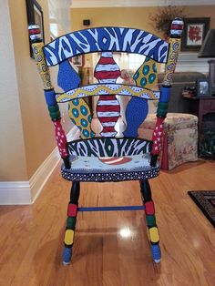 "Back side of the chair I just finished for a preschool teacher friend of mine. The ""fish"" are the kids fingerprints! Cool Furniture, Painted Furniture, Teacher Chairs, Library Themes, Wood Crafts, Diy Crafts, Painted Stools, Kids Wood, Painting On Wood"