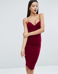 ASOS | ASOS Scuba Deep Plunge Midi Body-Conscious Dress