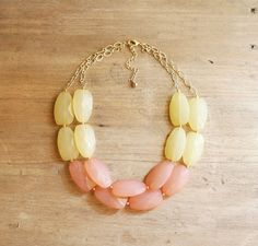 Yellow and Peach Coral Colorblock Double Strand Statement Necklace - Pastel Bib Necklace