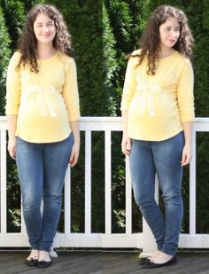 Easy maternity shirt DIY. All you do is sew on the ribbon and once tied, it makes some cute gathering.