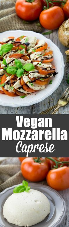I'm so excited about this vegan mozzarella! The recipe is super simple and you only need four very healthy ingredients. It's best served in a caprese salad!