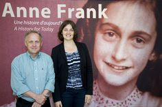 John Kastner from the Stratford Perth Museum and Julie Couture from the Anne Frank House in Amsterdam. Stratford Ontario, Amsterdam Houses, Anne Frank House, Perth, Exhibit, Writers, Literature, Museum, Actors