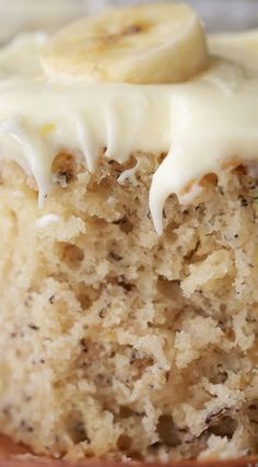 The BEST Banana Cake ~ Soft, moist and rich. Topped with a totally irresistible lemon cream cheese frosting. The BEST Banana Cake ~ Soft, moist and rich. Topped with a totally irresistible lemon cream cheese frosting. No Bake Desserts, Just Desserts, Delicious Desserts, Yummy Food, Baking Desserts, Cake Baking, Health Desserts, Cupcake Recipes, Cupcake Cakes