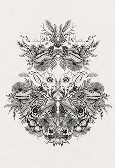 Rorschach Test Inspired Floral Illustration
