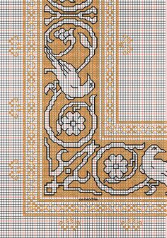 """working drawing 2 for Assisi embroidery design """"bird-square"""" Cross Stitching, Cross Stitch Embroidery, Cross Stitch Designs, Cross Stitch Patterns, Bargello Needlepoint, Working Drawing, Border Pattern, Crafty Craft, Blackwork"""