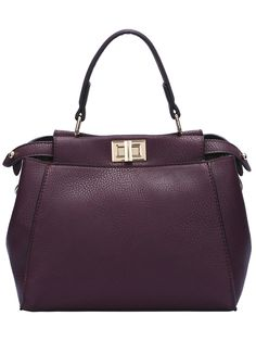 Burgundy Twist Lock PU Shoulder Bag -SheIn Beautiful Handbags b161ea45372f6