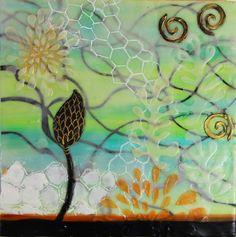 Water pattern, floral, encaustic spiral, pods