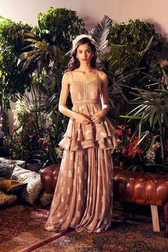 Bhumika Sharma is a luxury women's wear label that moulds ethnic materials in contemporary styles. Buy a variety of lehengas, sarees, indian gowns, kurtis, anarkalis and a variety of indian ethnic wear and contemporary wear. We ship worldwide. Indian Gowns, Indian Attire, Indian Ethnic Wear, Pakistani Dresses, Designer Party Wear Dresses, Indian Designer Outfits, Indian Wedding Outfits, Indian Outfits, Sharara Designs