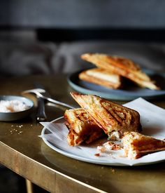 Yabby Jaffle - Note: Live yabbies need to be ordered from your fishmonger, or you can substitute 36 medium prawns; poach them in a similar method as the yabbies or buy cooked prawns. :  gourmettraveller au