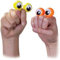 Finger Spies, wie kent ze niet van Sesamstraat? Deze leuke oogjes die je eenvoudig om je vinger klemt, een poppenkast is peanuts en pret voor 10. Te koop voor 1 euro per stuk