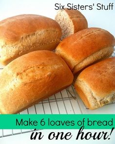 Make 6 loaves of bread in one hour - this is the best whole wheat bread! SixSistersStuff.com