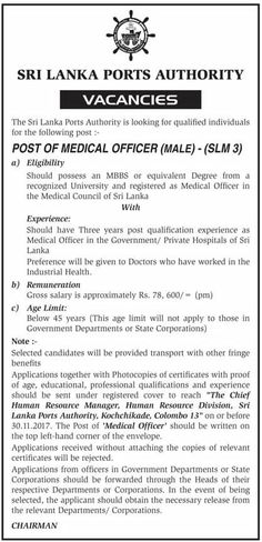 Sri Lanka Ports Authority is seeking candidates for Medical Officer (Male) position. Medical Council, Government Jobs, Sri Lanka, Reading