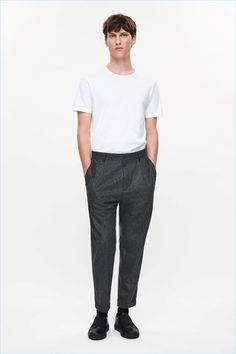 COS image 1 of Relaxed wool chino trousers in Grey Mens Dressing Styles Casual, Man Dressing Style, Black Slip On Sneakers, Black Socks, Charcoal Dress, Mens Dress Pants, Herren Outfit, Wool Dress, Leather Slip Ons