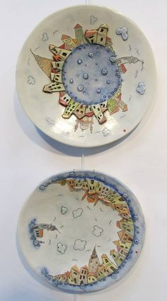 Plates with İstanbul viewOooh what a cute way to capture significant places in your life Pottery Houses, Ceramic Houses, Ceramic Clay, Porcelain Ceramics, Ceramic Bowls, Pottery Plates, Ceramic Pottery, Pottery Art, Pottery Painting