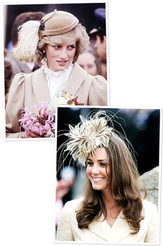 Princess Diana and Kate Middleton's Similar Style  Feather Fascinators