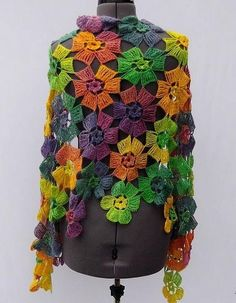 Amazing Flowers Shawl Buy … Pattern … How to Crochet the Double Treble (or Double Triple) Crochet Stitch (dtr).Beautiful Women& Shawl Wrap For Spring and autumn The Square MotifSource … Fabulous Lace Shawl, Scarf Or Wrap Pattern (A) . Poncho Crochet, Col Crochet, Crochet Shawls And Wraps, Crochet Scarves, Irish Crochet, Crochet Motif, Crochet Clothes, Crochet Stitches, Lace Shawls