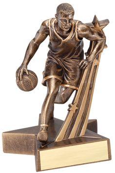 "Male Basketball Trophy - 8.5"" Super Star Resin"