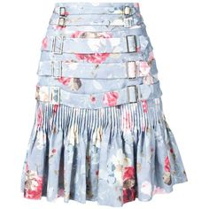 Zimmermann buckled floral print skirt (1,907 CAD) ❤ liked on Polyvore featuring skirts, zimmermann, blue, floral print skirt, floral knee length skirt, blue skirt, flower print skirt and floral skirt