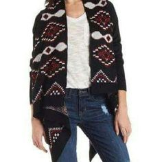 Aztec Blanket Cardigan Great aztec pattern cardigan with flowy cascading open front. Charlotte Russe Sweaters