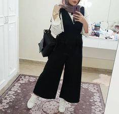 - Jumpsuits and Romper Hijab Fashion Summer, Modest Fashion Hijab, Modern Hijab Fashion, Street Hijab Fashion, Hijab Fashion Inspiration, Muslim Fashion, Fashion Outfits, Hijab Style Dress, Hijab Look