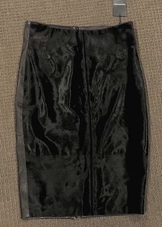NWT-COUNTRY-ROAD-Stunning-Black-Leather-Knee-Length-Skirt-Size-12-599-NEW